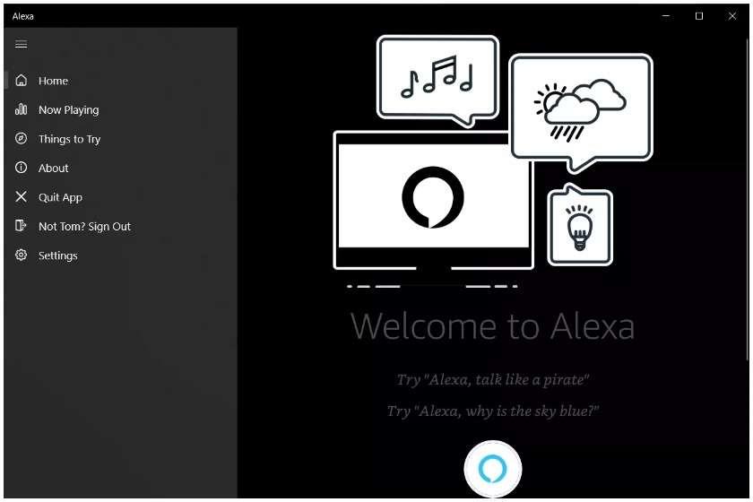 Alexa on Windows 10 app