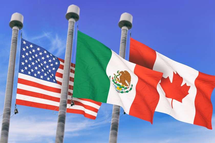 აშშ, მექსიკა, კანადა დროშები