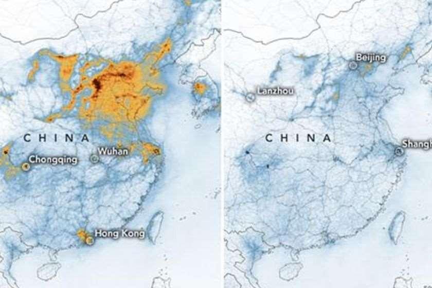ჩინეთი ჰაერის დაბინძურება კორონავირუსი